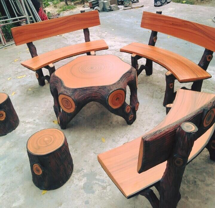 Bàn ghế đá giả gỗ HDG2