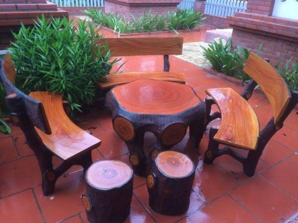 bàn ghế xi măng giả gỗ 10