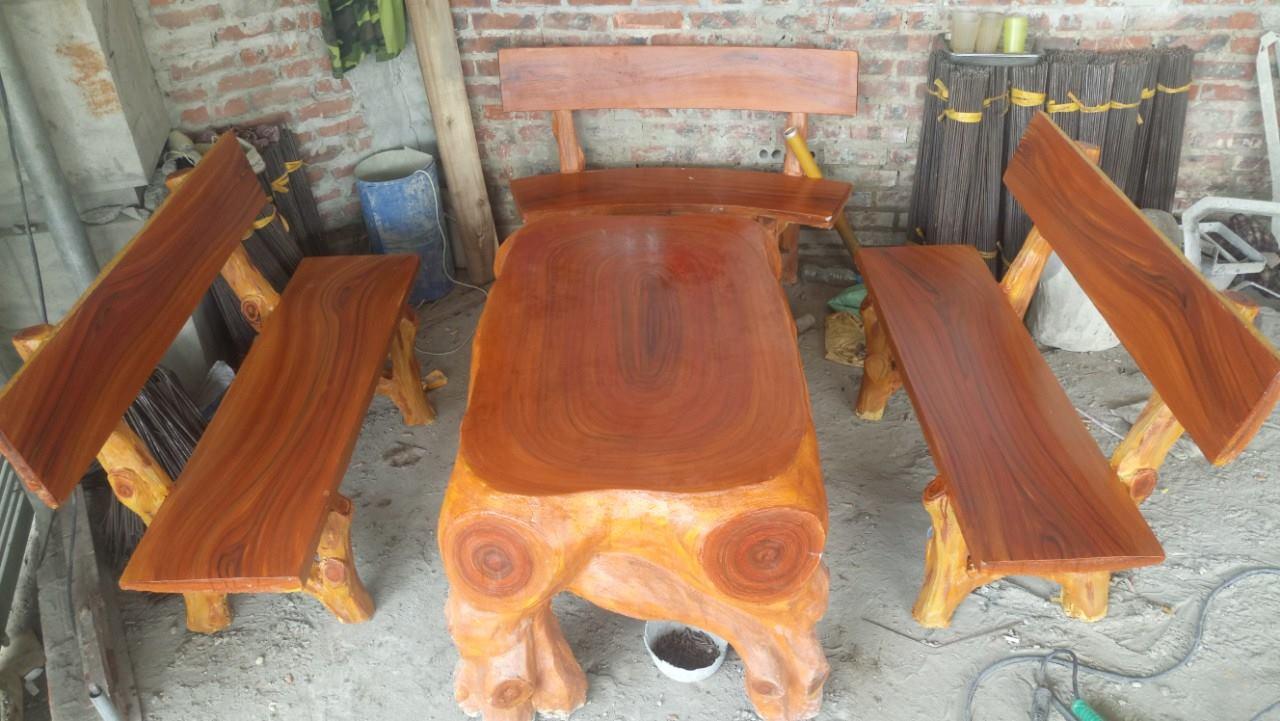bàn ghế giả gỗ hdl