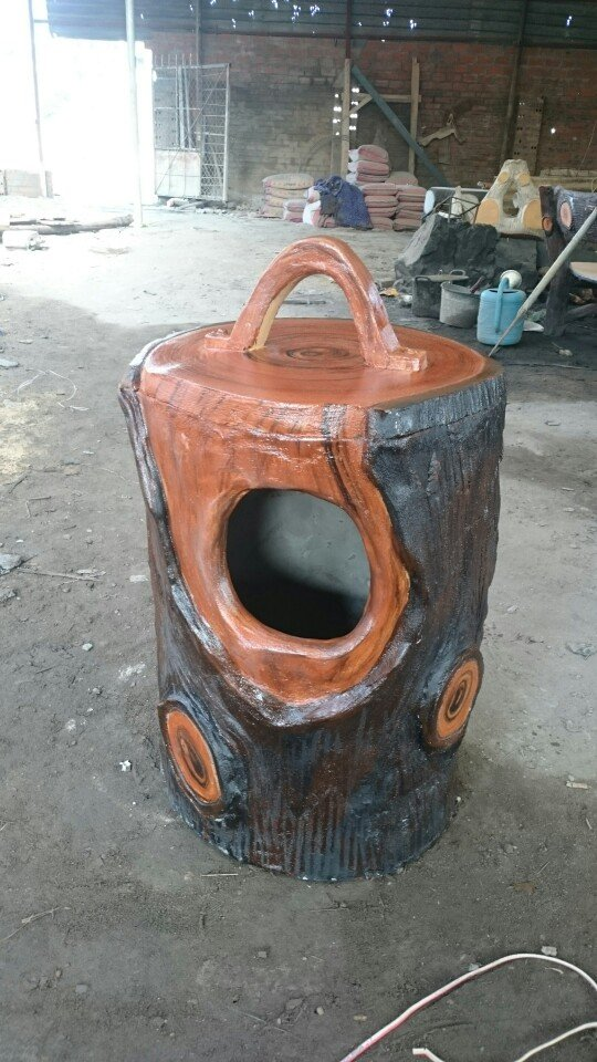 thùng rác xi măng giả gỗ