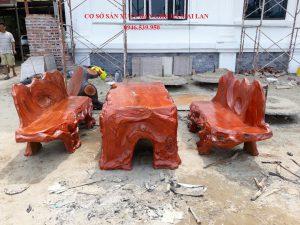 bàn ghế đá giả gỗ độc