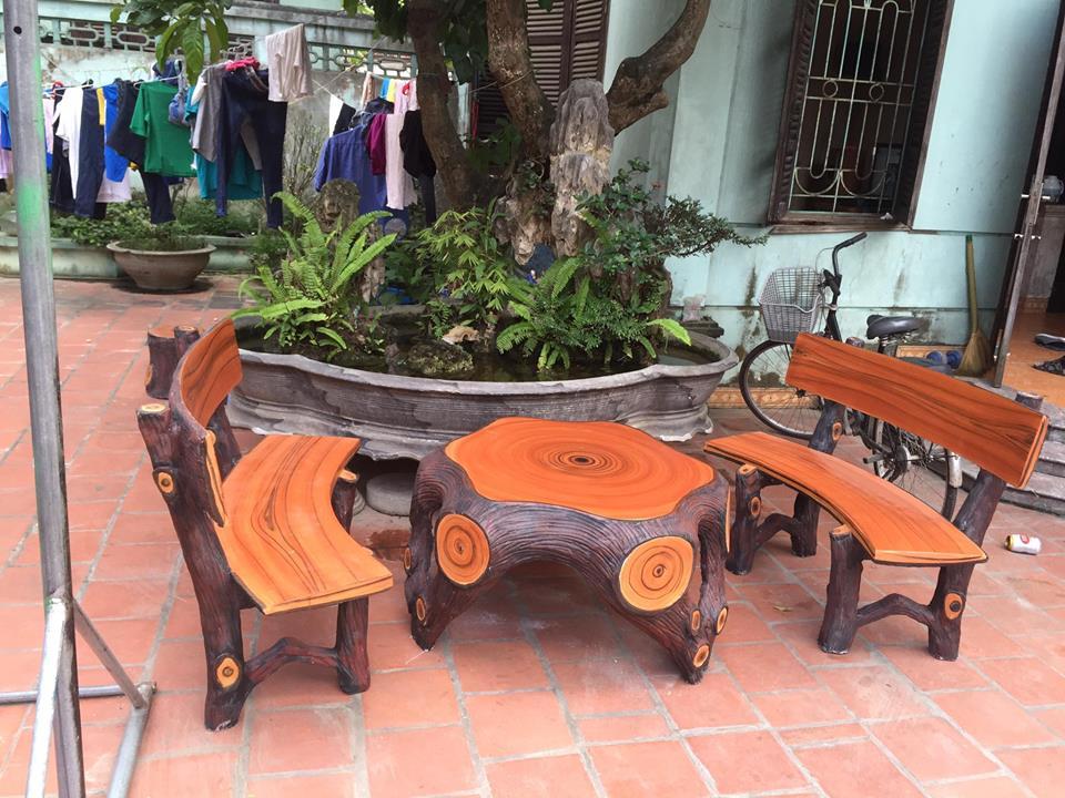 bàn ghế gốc cây giả gỗ 002