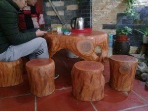Bàn ghế đá giả gỗ HDG3