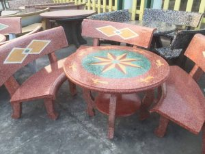bàn ghế đá sân vườn g8