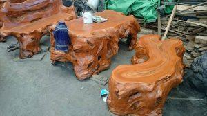 bàn ghế xi măng giả gỗ 985