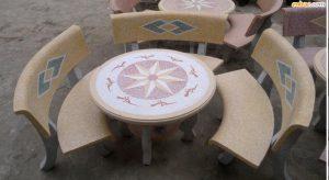 bàn ghế đá cong 1 mặt