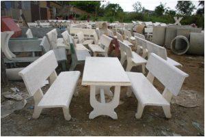 bàn ghế đá 2 mặt