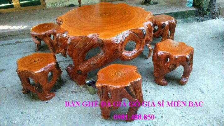 bộ bàn ghế đá giả gỗ lũa đẹp