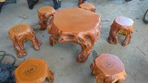 bàn ghế xi măng giả gỗ 989