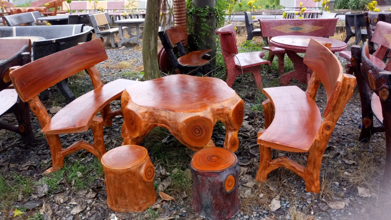 bộ bàn ghế gốc cây giả gỗ