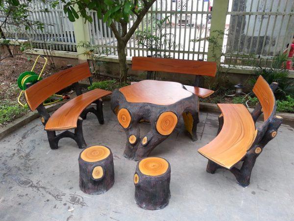 bàn ghế đá giả gỗ 90