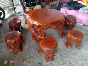 bàn ghế giả gỗ lũa
