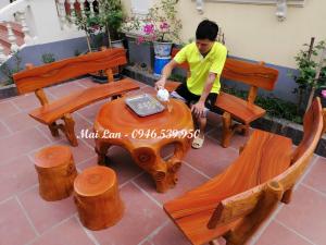 bàn ghế xi măng giả gỗ đẹp