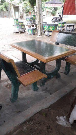bộ bàn ghế đá vàng xanh 2 mặt