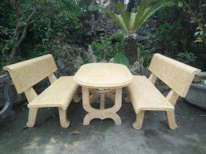 bàn ghế đá thẳng vàng 2 mặt