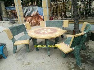 bộ bàn ghế đá x3
