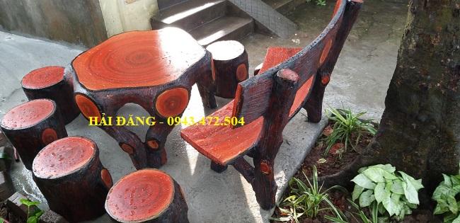 bộ bàn ghế xi măng giả gỗ b6
