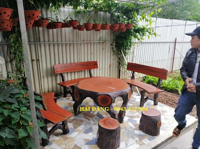 bộ bàn ghế xi măng giả gỗ b5