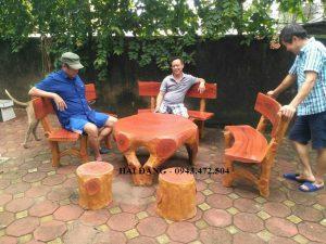 bộ bàn ghế xi măng giả gỗ b4