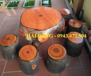 bộ bàn ghế xi măng giả gỗ b2