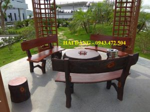 bộ bàn ghế xi măng giả gỗ b1bộ bàn ghế xi măng giả gỗ b1