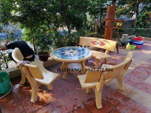 bộ bàn ghế đá x8
