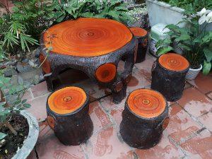 bàn ghế đá giả gỗ f2