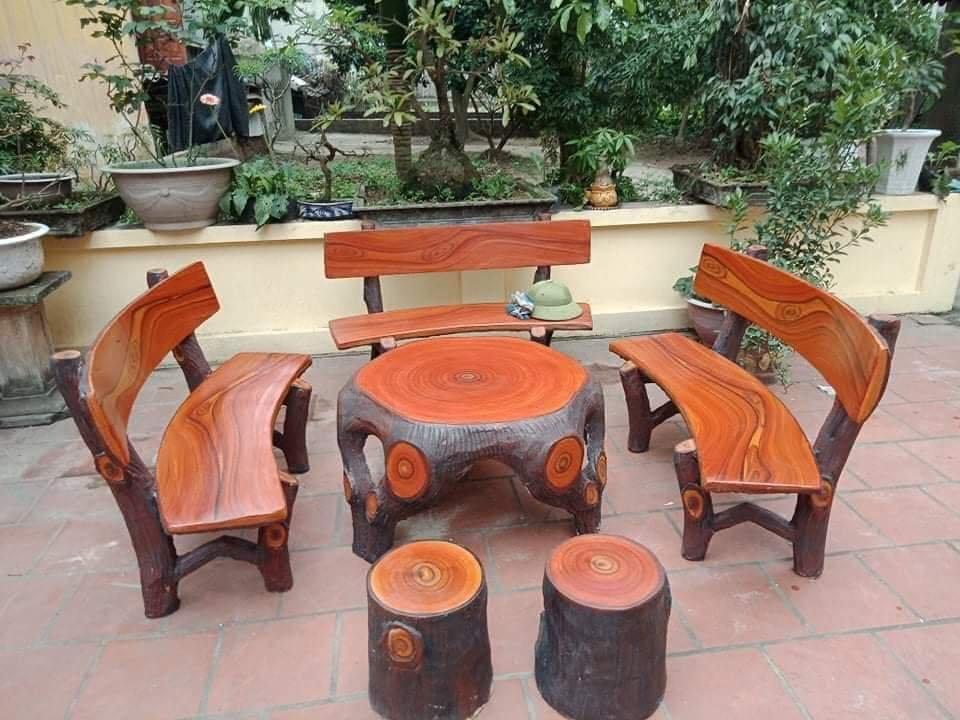 bàn ghế đá giả gỗ f3