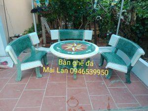 bàn ghế đá cong hl22